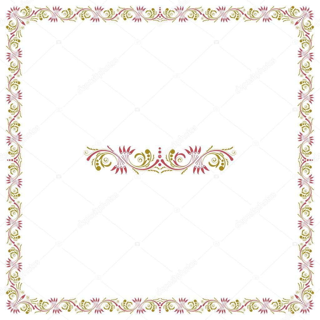 Divisor de marco y texto cuadrado floral decorativo — Vector de ...