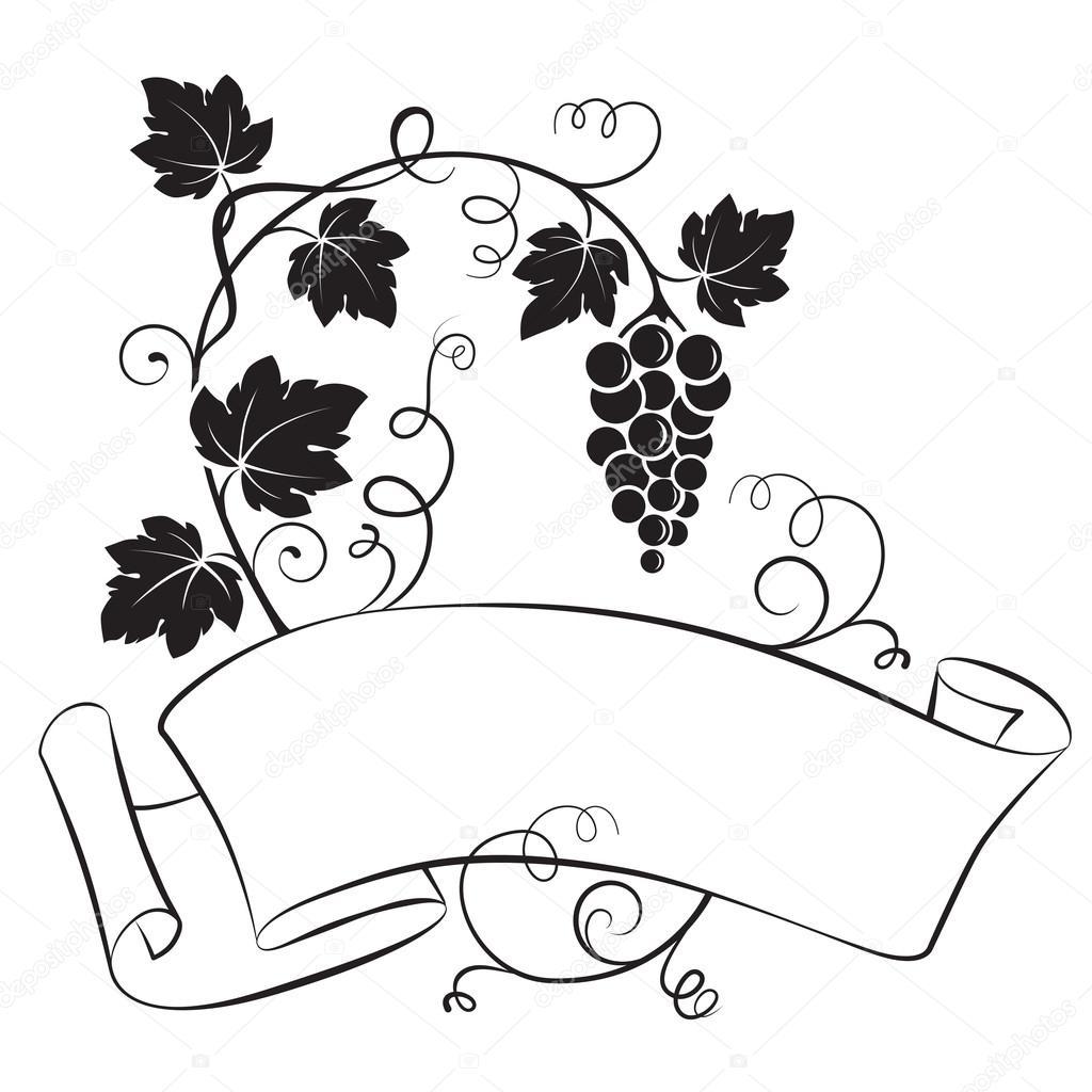 Desplazamiento, la cinta con un racimo de uva y las hojas, la ...