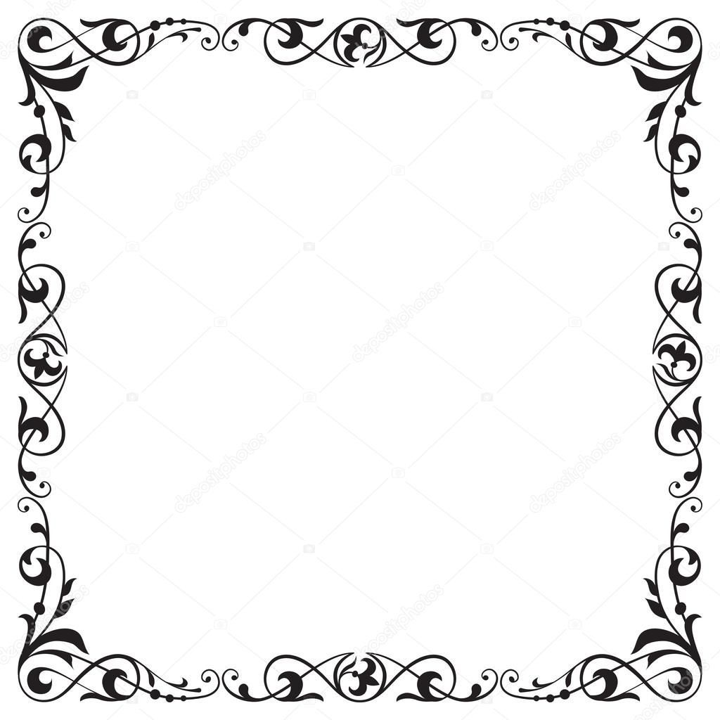 Decorativo negro marco cuadrado, esquina, viñeta — Archivo Imágenes ...