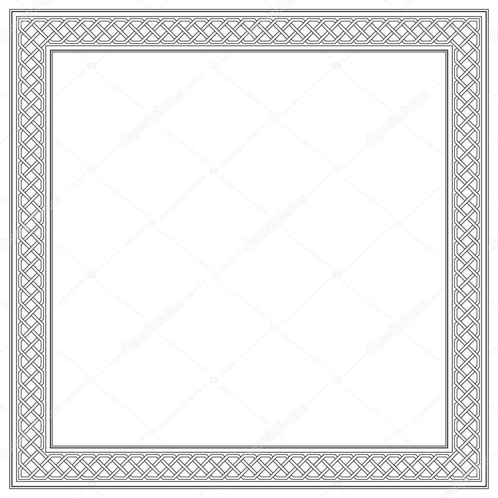 Decorativo marco cuadrado blanco y negro, estilo árabe, oriental ...