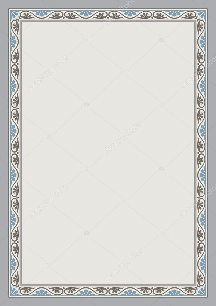 Decorative frame and background, A4 page proportions. — Stock Vector ...