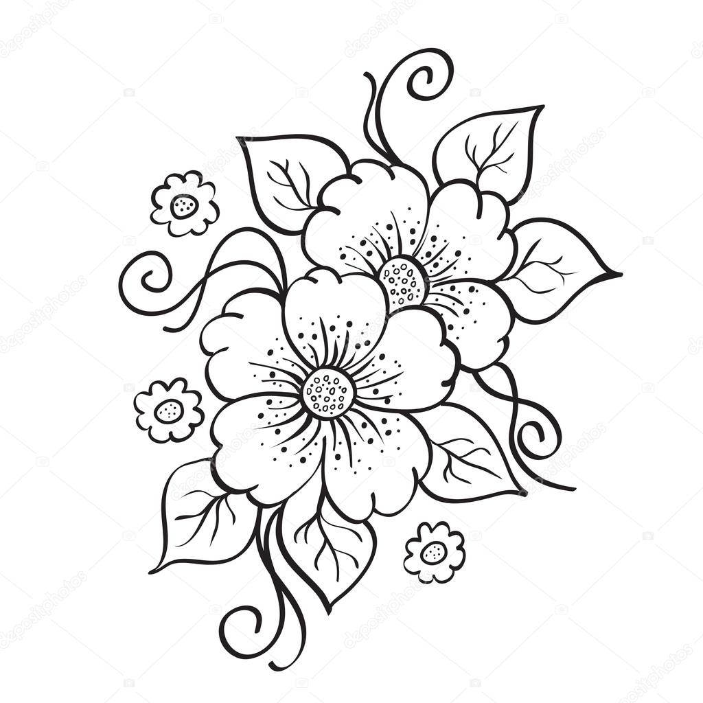 Flower Dibujo: Abstract Hand Drawn Flowers, Sketch, Stencil.