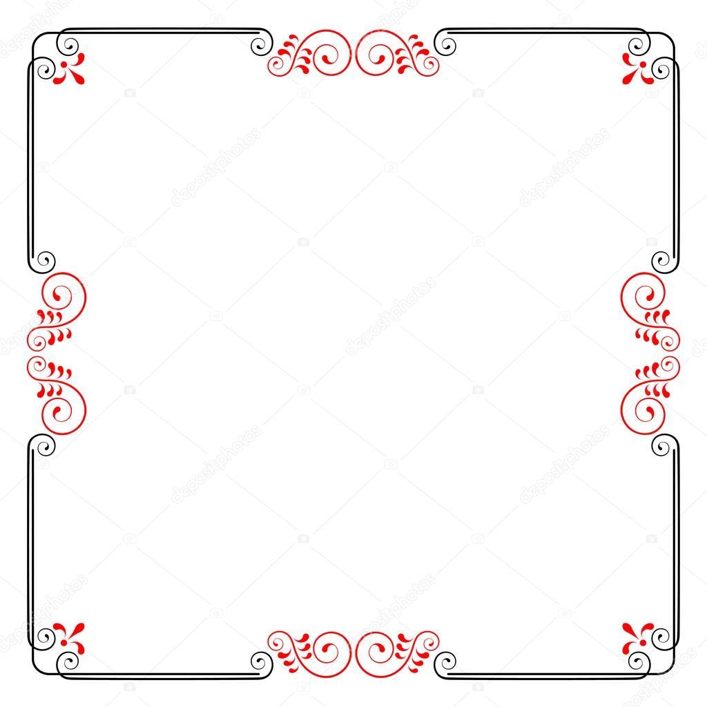 Marco cuadrado decorativo con espirales y hojas. Plantilla para ...