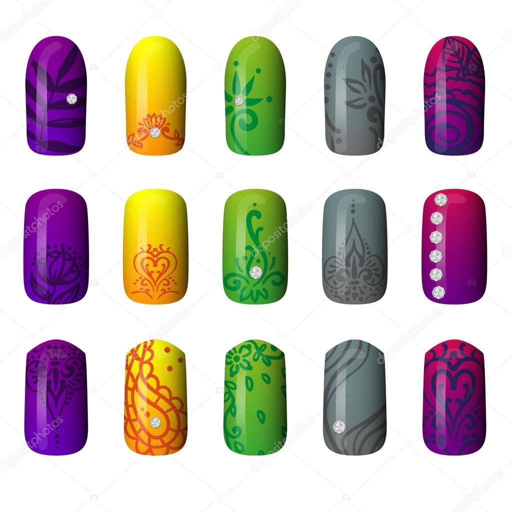 Set de uñas pintadas de colores. de manicura. esmalte de uñas ...