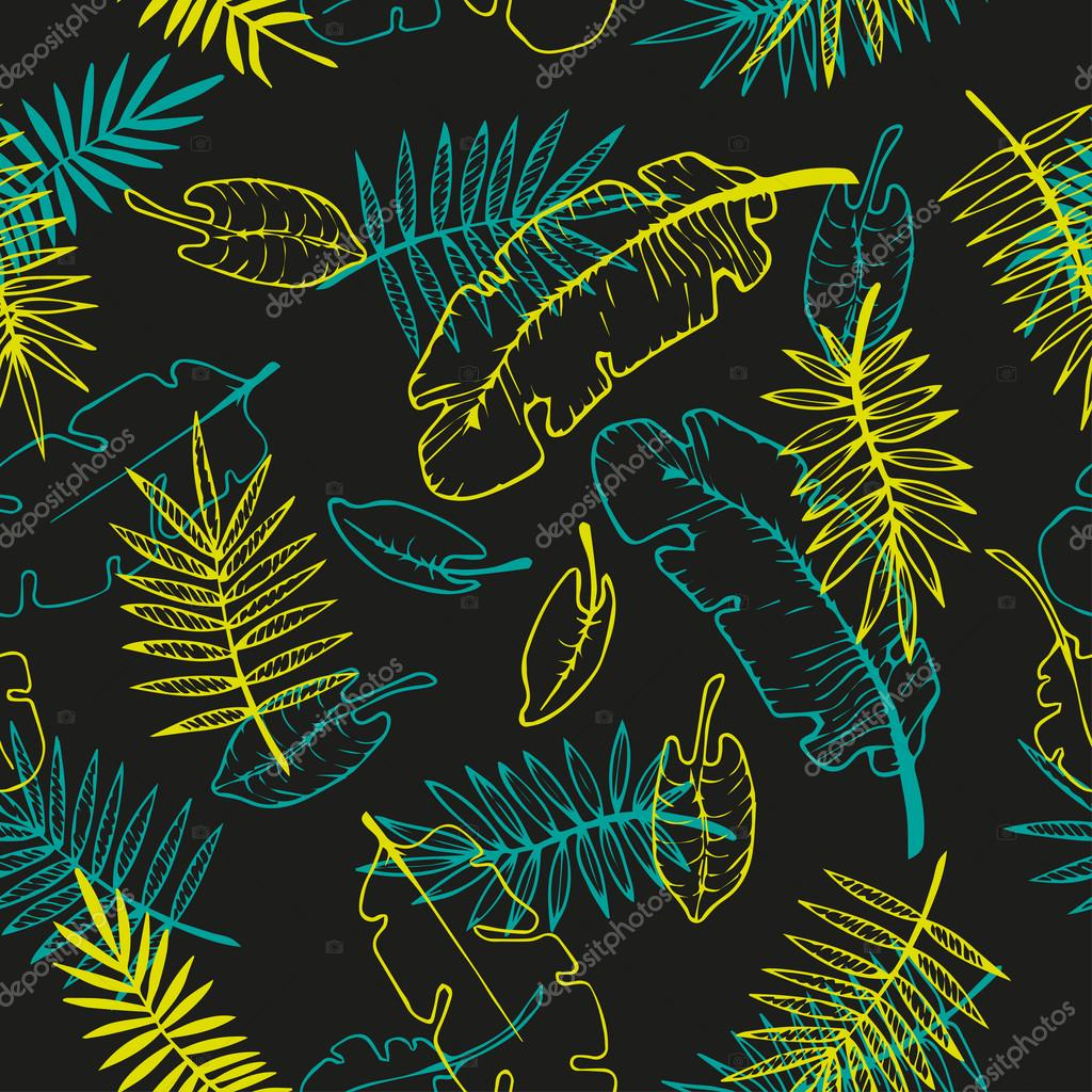 floral pattern. tropical leaves seamless background.