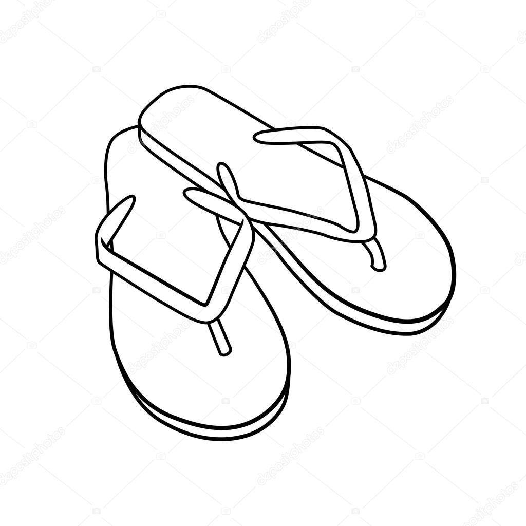Summer Footwear Doodle Cartoon Flip Flops Isolated On