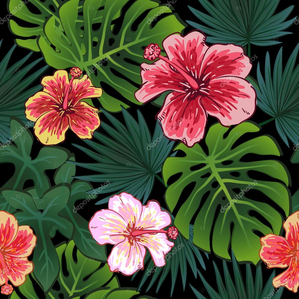 Summer colorful seamless pattern with tropical plants and hibiscus ...