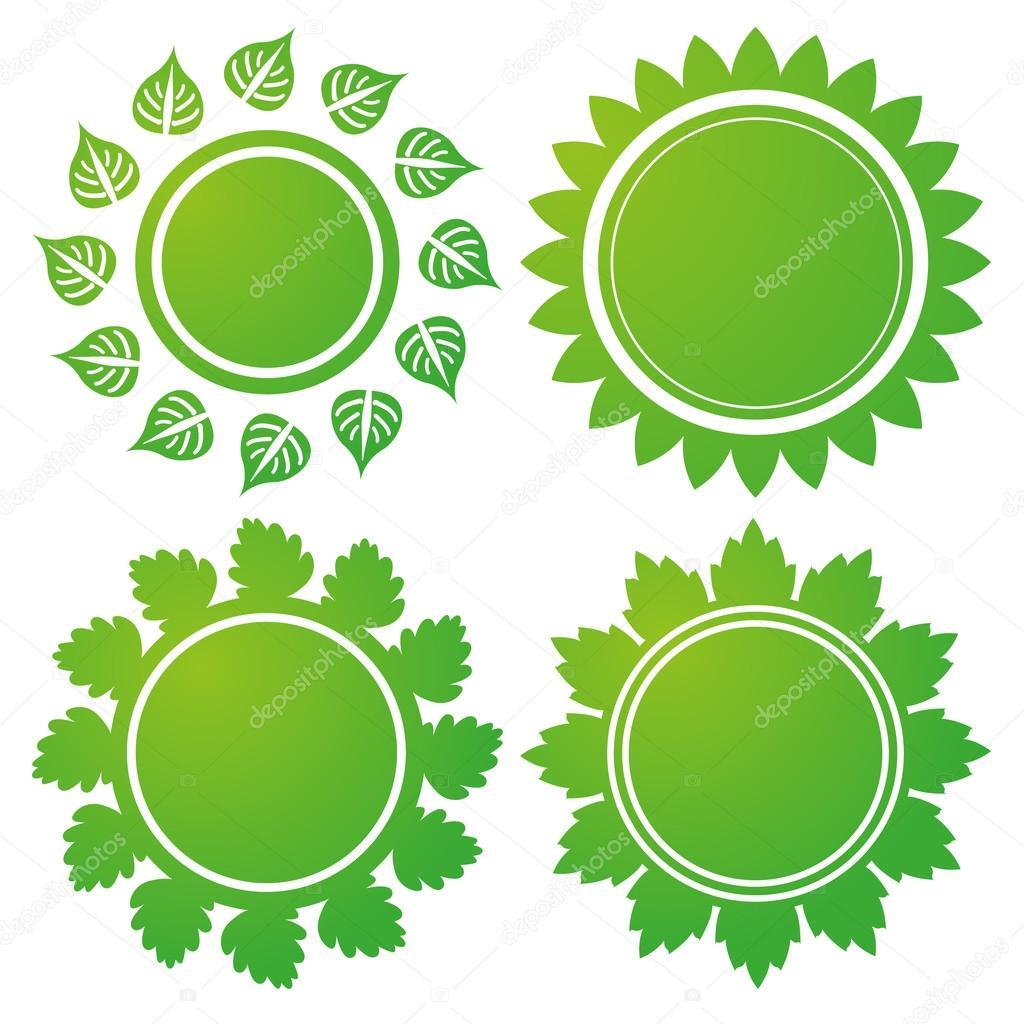 Marco de círculo de hojas verdes aisladas sobre fondo blanco ...