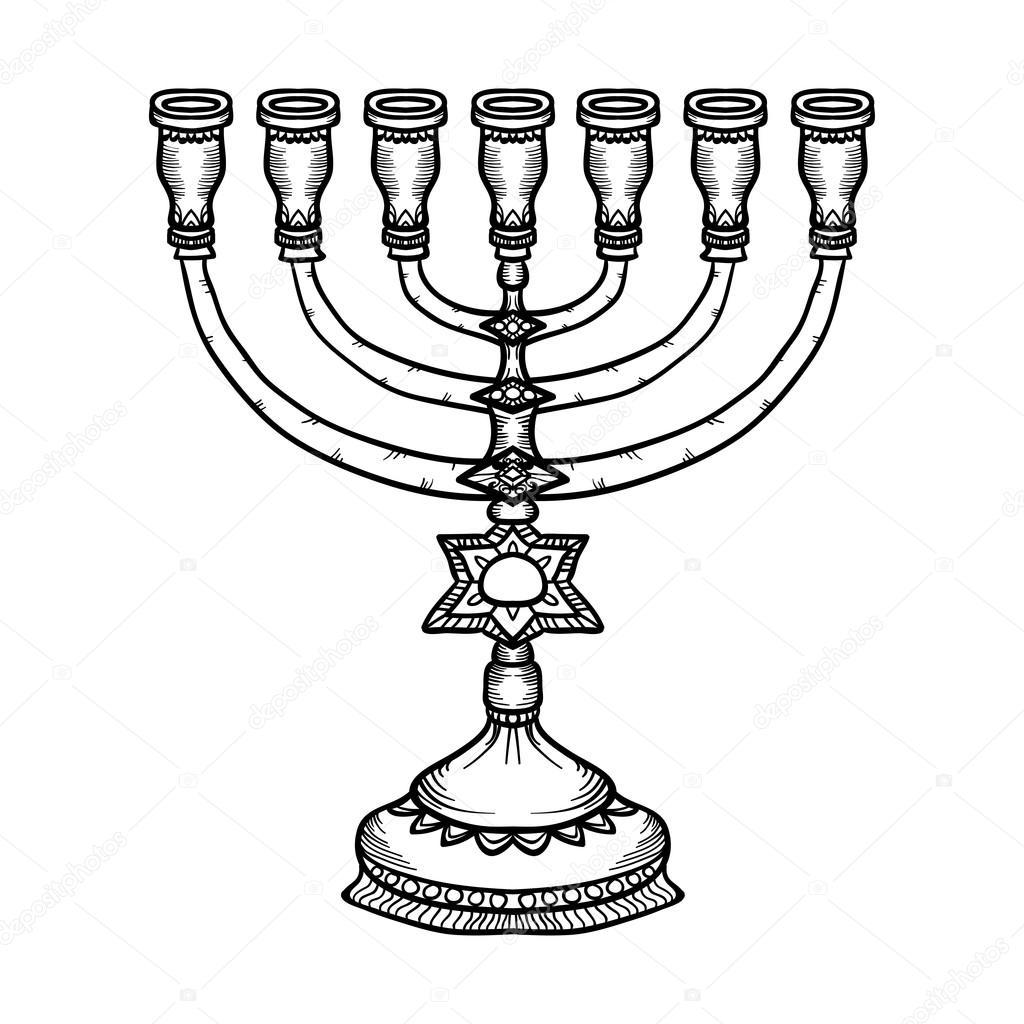 Menorah de símbolo religioso judío aislado sobre fondo blanco ...
