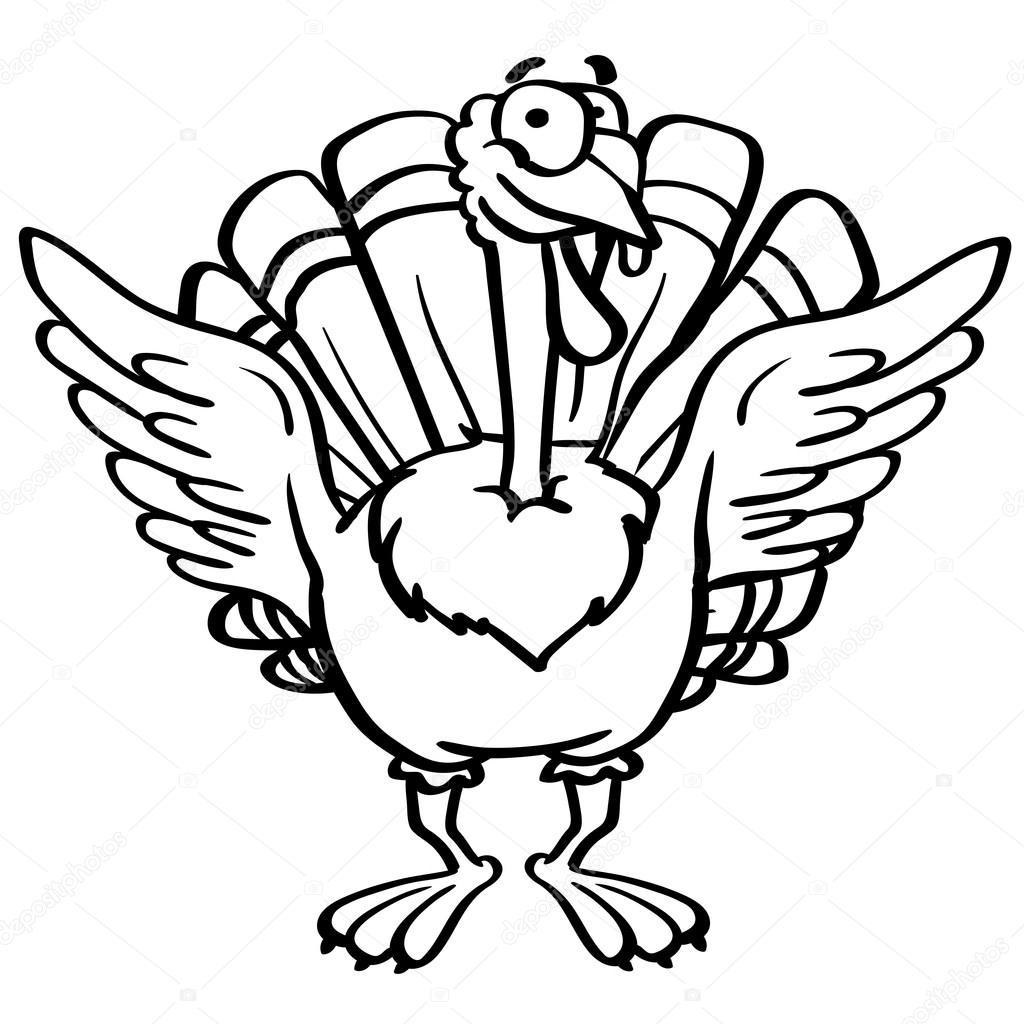 Umriss Färbung Cartoon Türkei mit einem Lächeln auf weißem ...
