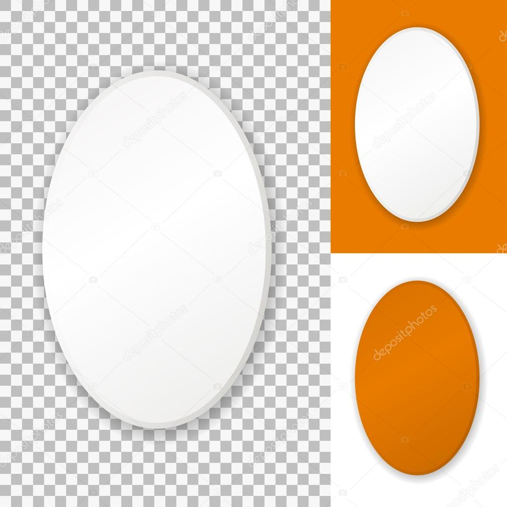 Vector white oval frame, isolated on transparent background — Stock ...