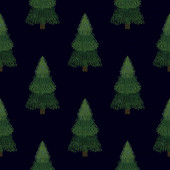 Christmas fir trees in a seamless pattern, modern hand draw design. Winter background. Can be used for printed new year materials - leaflets, posters, business cards or for web