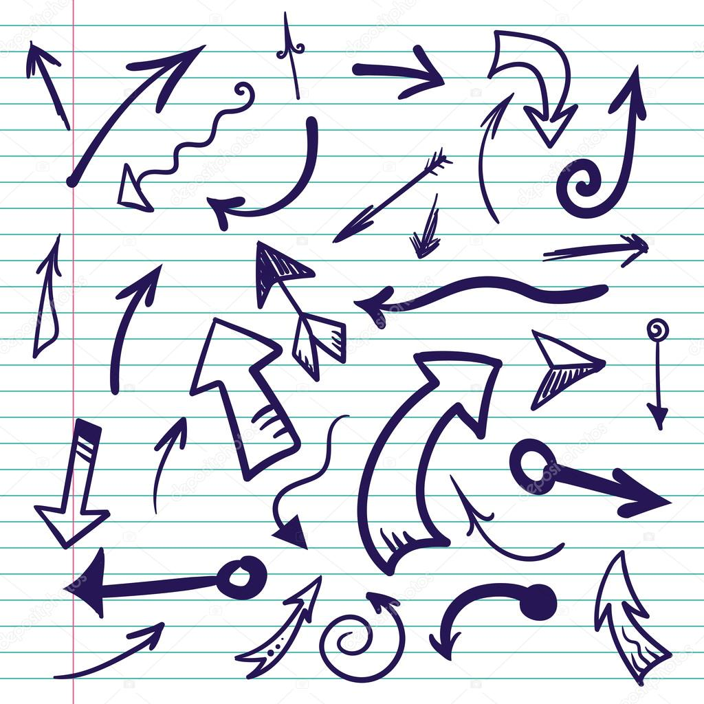 Hand drawn doodle arrows on lined paper