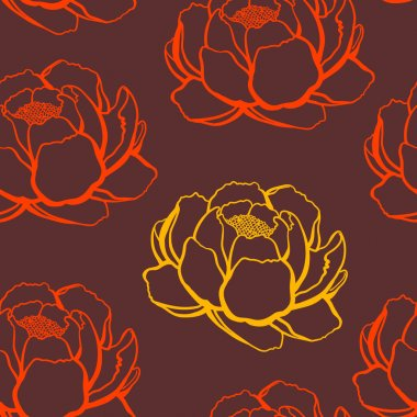 orange and red rose, seamless pattern