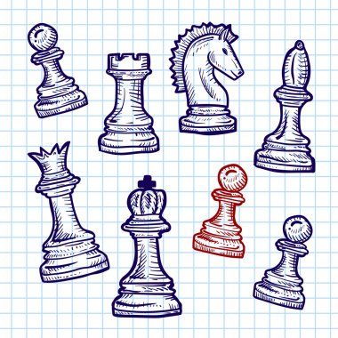 chess pieces on the notebook sheet