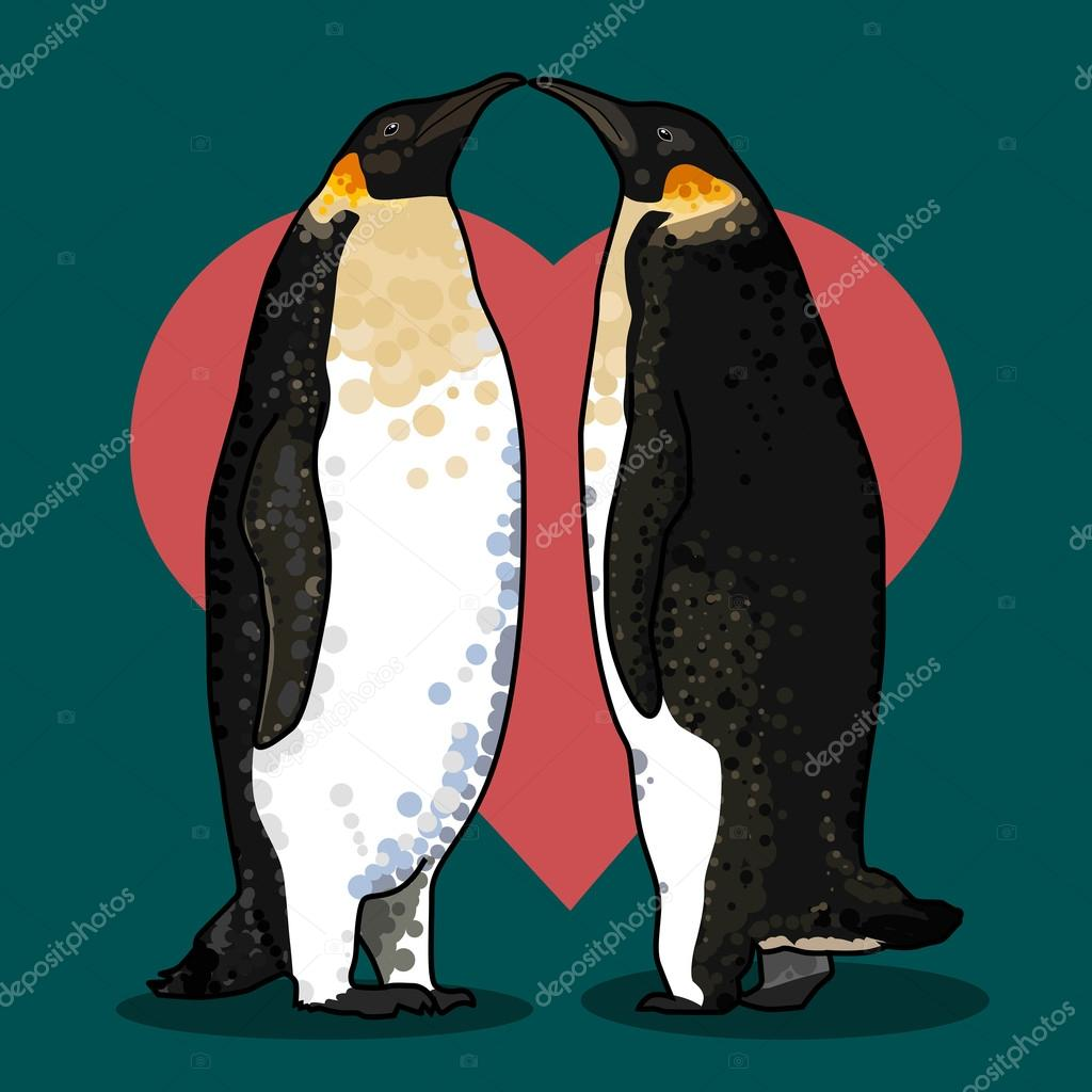 illustration of valentine's card with penguins