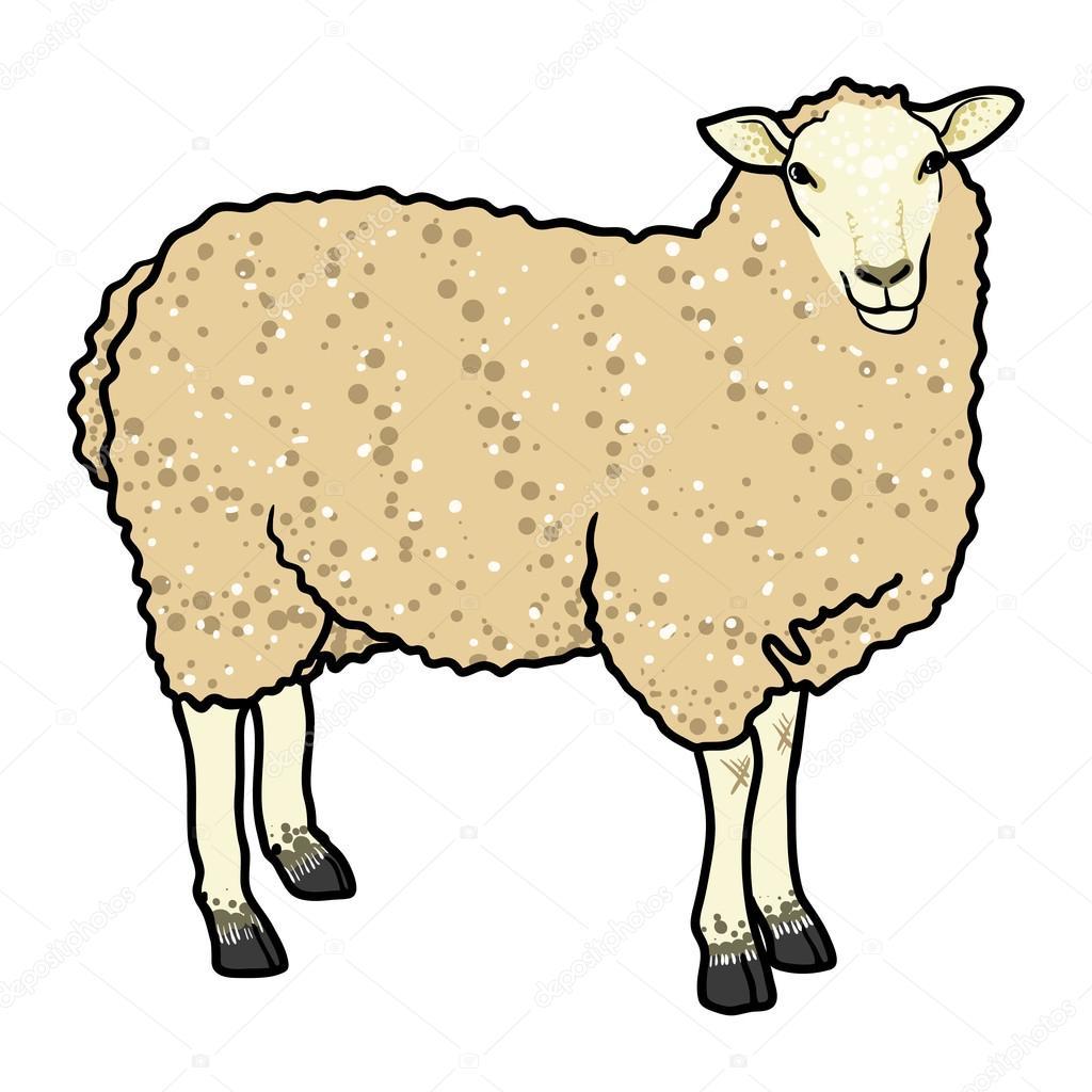 Mouton beige dessin anim isol image vectorielle - Mouton dessin anime ...