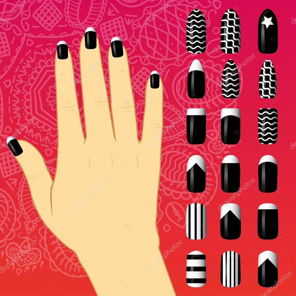 set of colored painted nails. manicure. nail polish. — Stock Vector ...