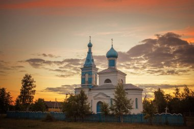 orthodox old church in the village at sunset 2020
