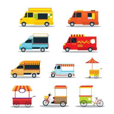 Food Vehicles, Truck, Van, Pushcart, Color Set