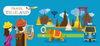 Tourist Travel Thailand Flat Design Vector