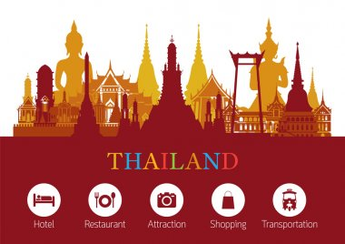 Thailand Landmark and Travel Icons