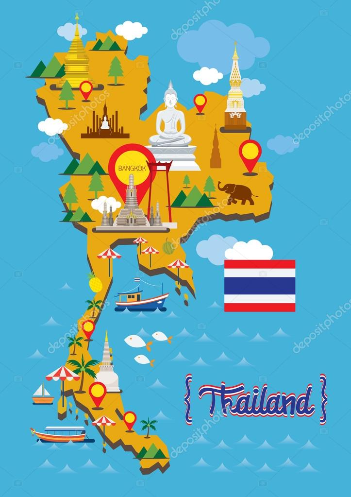 Thailand Map Detail Landmarks