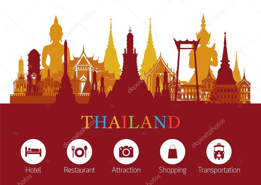 Thailand Landmark and Travel Icons