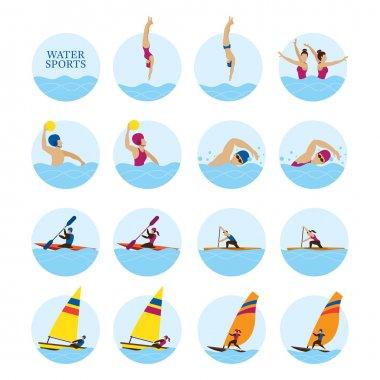 Sports Athletes, Water Sports Icons Set