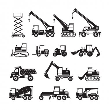 Construction Vehicles Objects Silhouette Set