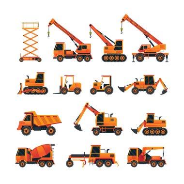 Construction Vehicles Objects Orange Set