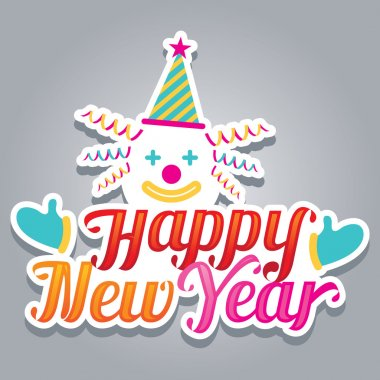 Clown with Happy New Year Text