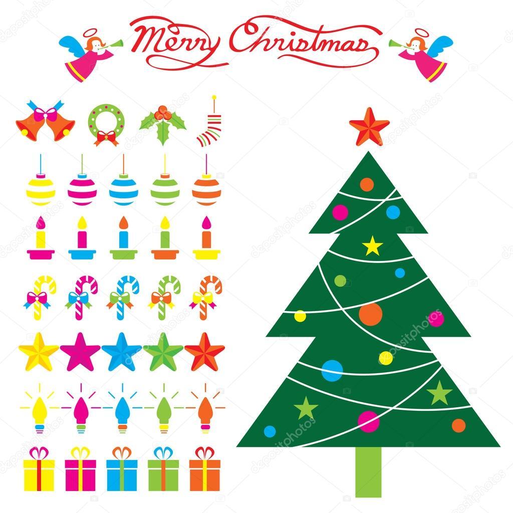 Oggetti Di Natale.Albero Di Natale E Oggetti Di Decorazione Vettoriali Stock
