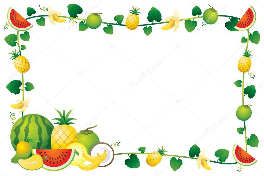 Mixed Fruits, Border, Frame — Stock Vector © muchmania ...