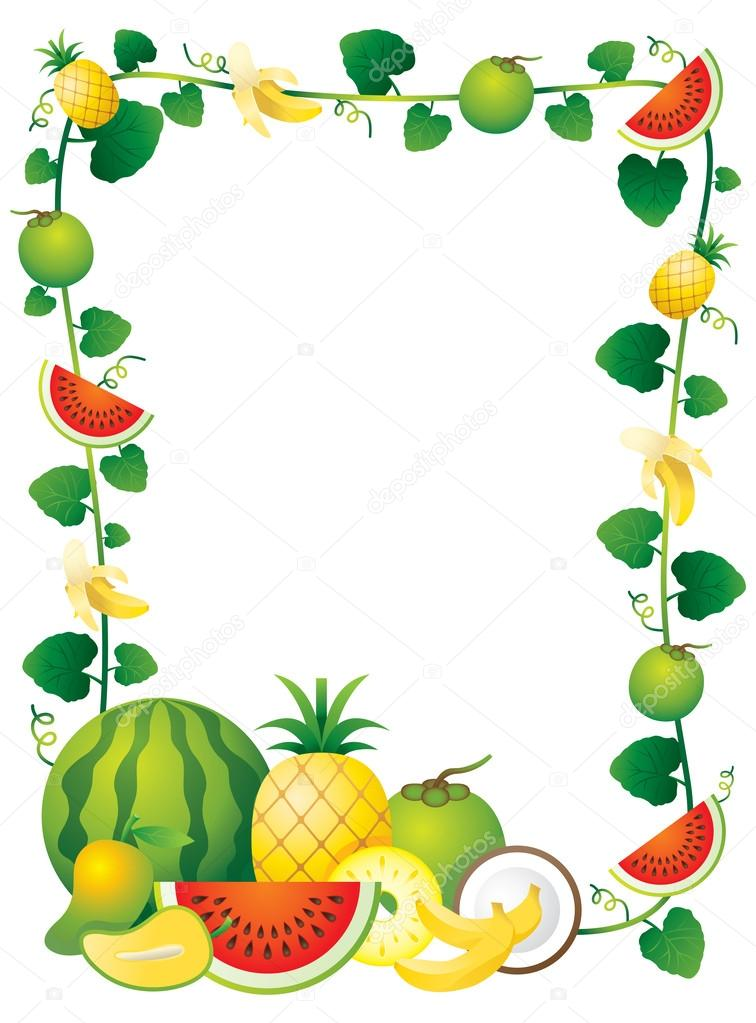 Stock Illustration Mixed Fruits Border Frame on Lemon Border Clip Art
