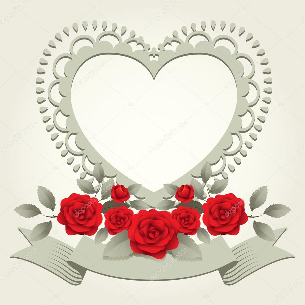 Roses Vintage Heart Shaped Frame Border Stock Vector C Muchmania