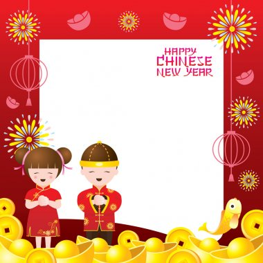 Chinese New Year Frame with Chinese Kids
