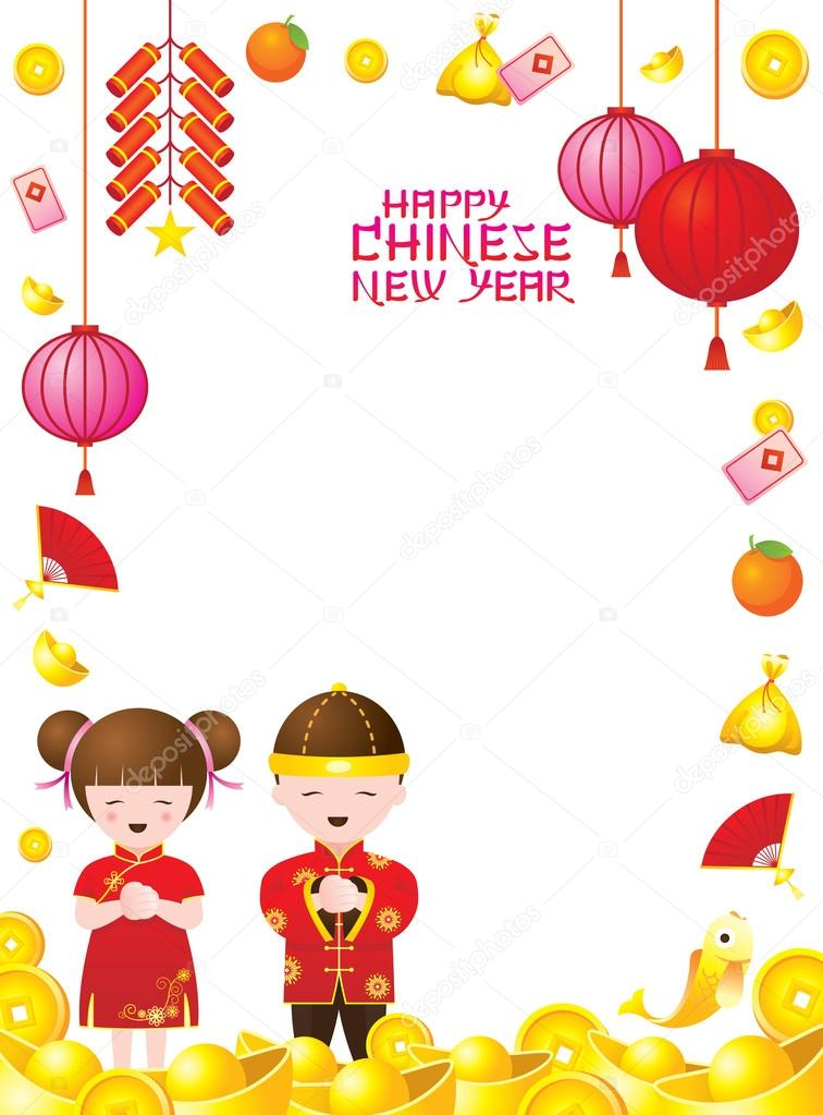 chinese new year frame with chinese kids stock vector 61579741 - Chinese New Year For Kids