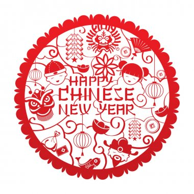 Chinese New Year Text with Icons Papercut