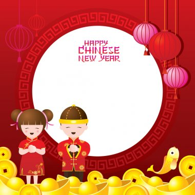 Chinese New Year Frame with Kids