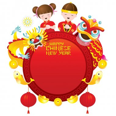 Chinese New Year Frame with Kids Dragon and Lion