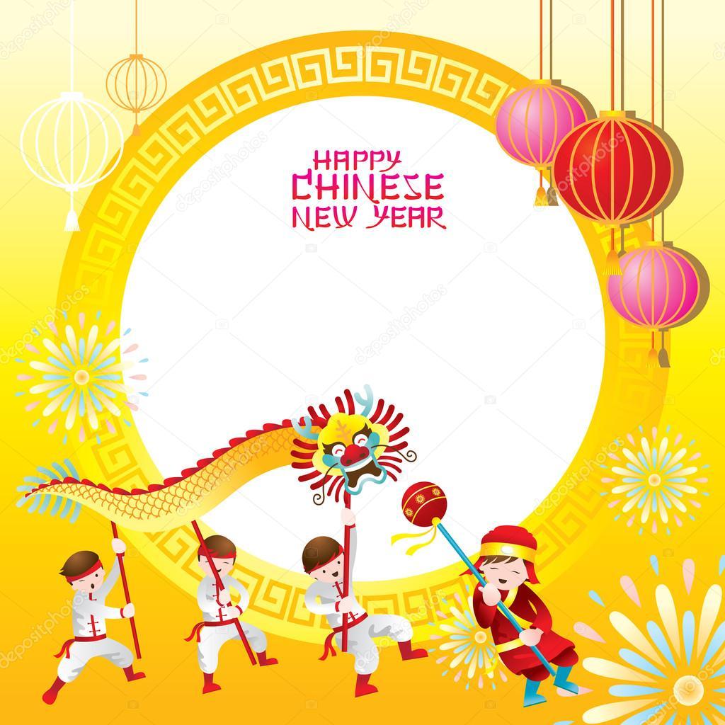 Marco de año nuevo chino con bailes del dragón — Archivo Imágenes ...