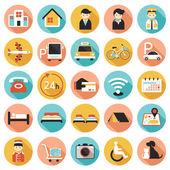 Fotografie Hotel Unterkunft Einrichtungen Dienstleistungen Icons Set A