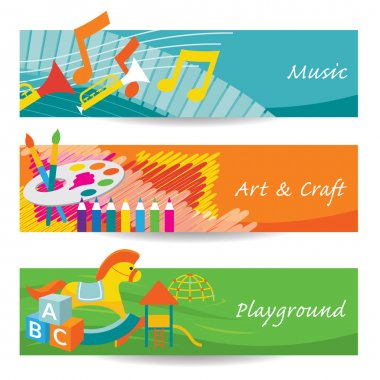 Music, Art, Playground for Kindergarten Banner