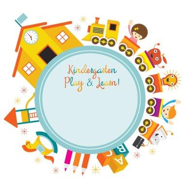 Kindergarten, Train, Kids Round Frame