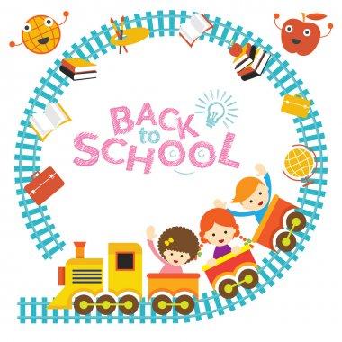 School, Train, Kids Frame