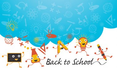 Education Characters Run Back to School Background