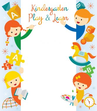 Kindergarten, Preschool, Kids Border and Frame