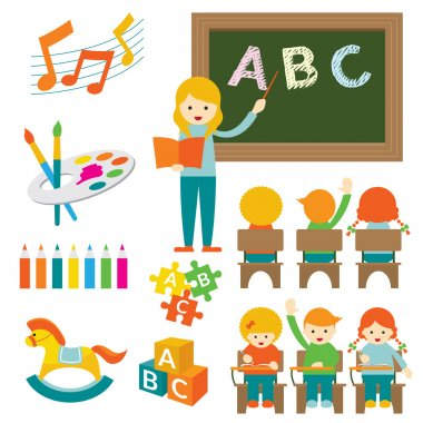 Kindergarten, Preschool, Teacher and Kids Set B
