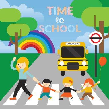 Teacher lead Kids cross the Street to School